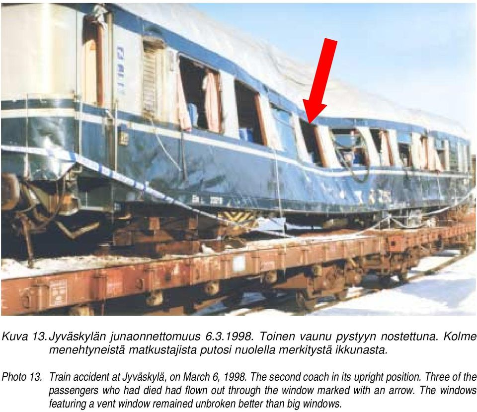 Train accident at Jyväskylä, on March 6, 1998. The second coach in its upright position.