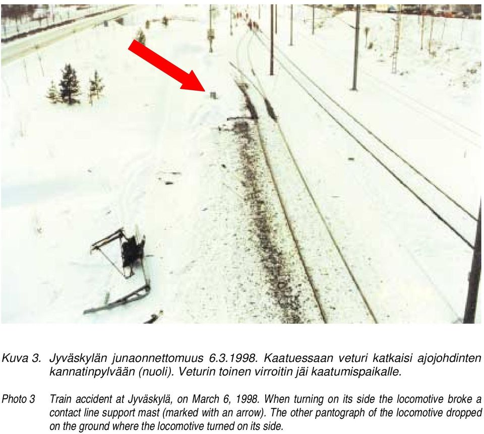 Veturin toinen virroitin jäi kaatumispaikalle. Photo 3 Train accident at Jyväskylä, on March 6, 1998.
