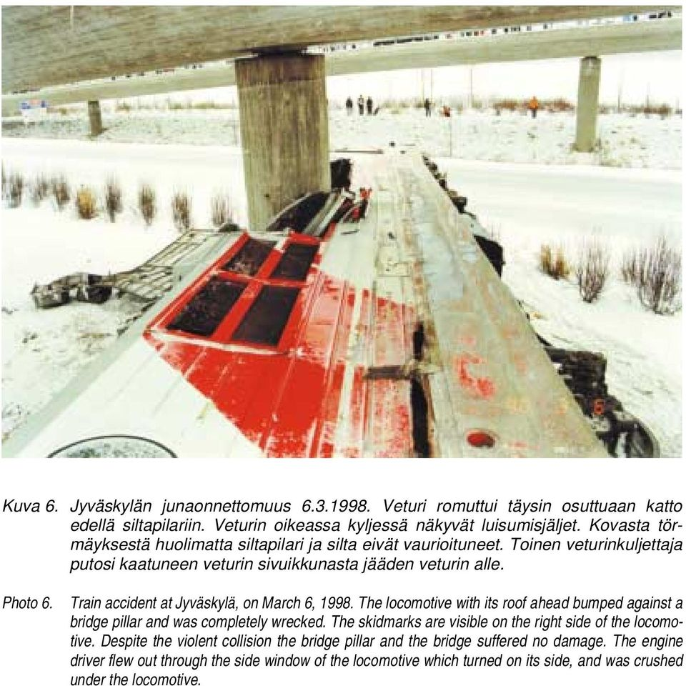Train accident at Jyväskylä, on March 6, 1998. The locomotive with its roof ahead bumped against a bridge pillar and was completely wrecked.