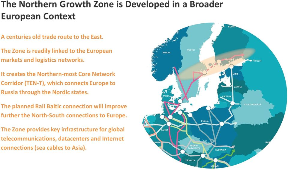 It creates the Northern-most Core Network Corridor (TEN-T), which connects Europe to Russia through the Nordic states.