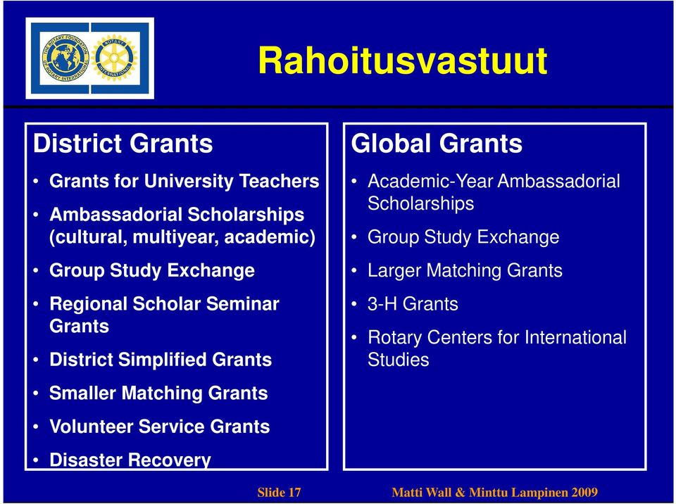 Volunteer Service Grants Disaster Recovery Global Grants Academic-Year Ambassadorial Scholarships Group Study