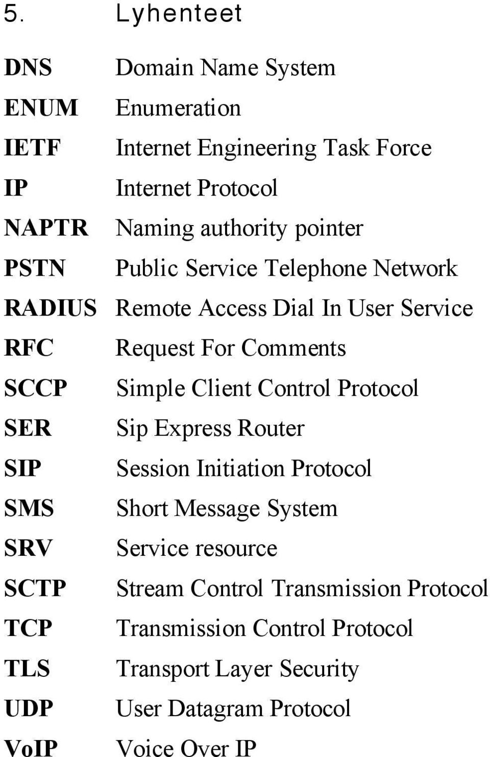 Control Protocol SER Sip Express Router SIP Session Initiation Protocol SMS Short Message System SRV Service resource SCTP Stream