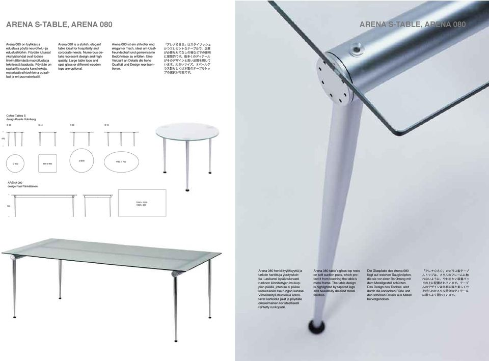 Arena 080 is a stylish, elegant table ideal for hospitality and corporate needs. Numerous details represent design and high quality.