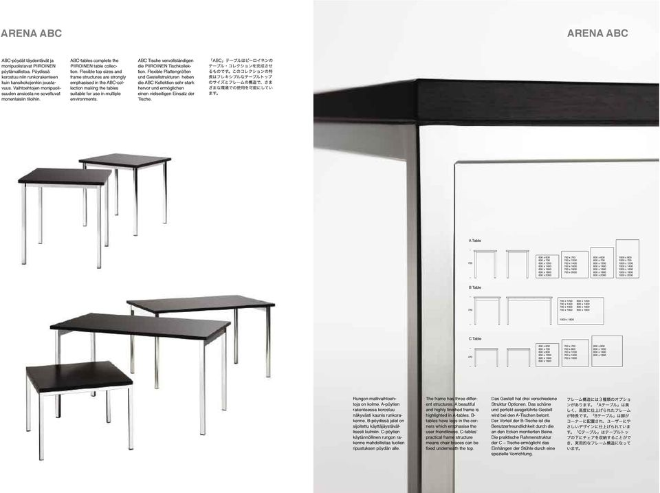 Flexible top sizes and frame structures are strongly emphasised in the ABC-collection making the tables suitable for use in multiple environments.