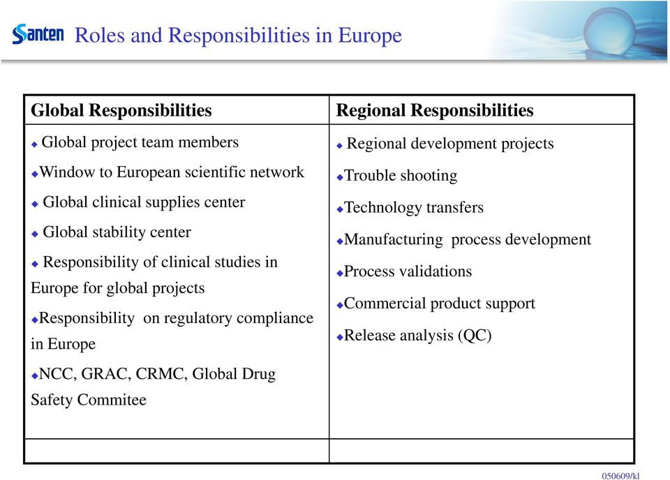 regulatory compliance in Europe NCC, GRAC, CRMC, Global Drug Safety Commitee Regional Responsibilities Regional development projects