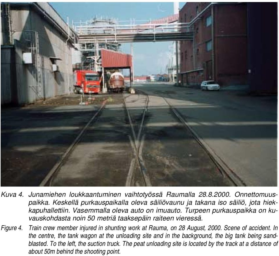 Train crew member injured in shunting work at Rauma, on 28 August, 2000. Scene of accident.