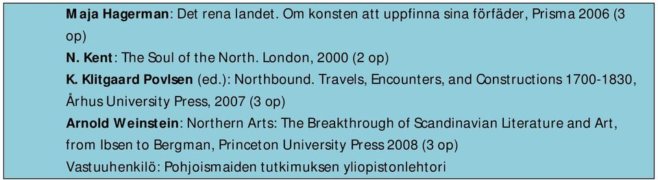 Travels, Encounters, and Constructions 1700-1830, Århus University Press, 2007 (3 op) Arnold Weinstein: