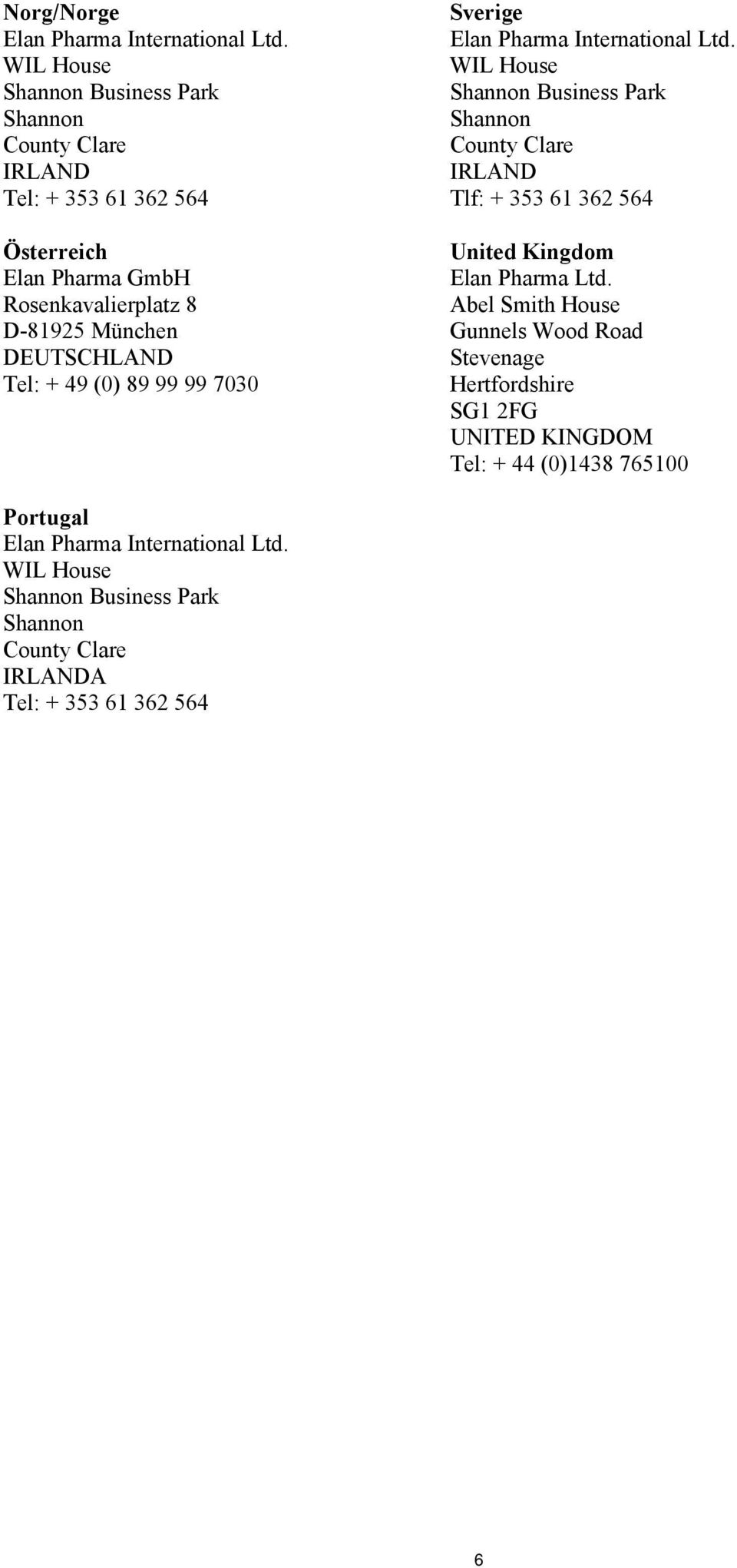 362 564 United Kingdom Elan Pharma Ltd.