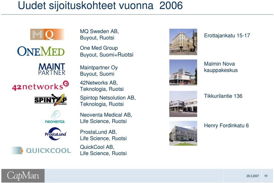 Ruotsi Neoventa Medical AB, Life Science, Ruotsi ProstaLund AB, Life Science, Ruotsi QuickCool AB,