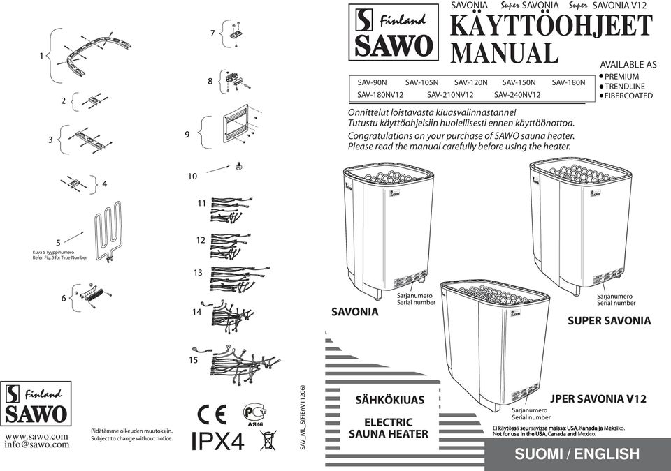 SAVOIA V AVAILABLE AS PREMIUM TREDLIE FIBERCOATED 4 10 11 5 Kuva 5 Tyyppinumero Refer Fig. 5 for Type umber 13 14 SAVOIA Sarjanumero Serial number Sarjanumero Serial number SUPER SAVOIA 15 www.sawo.