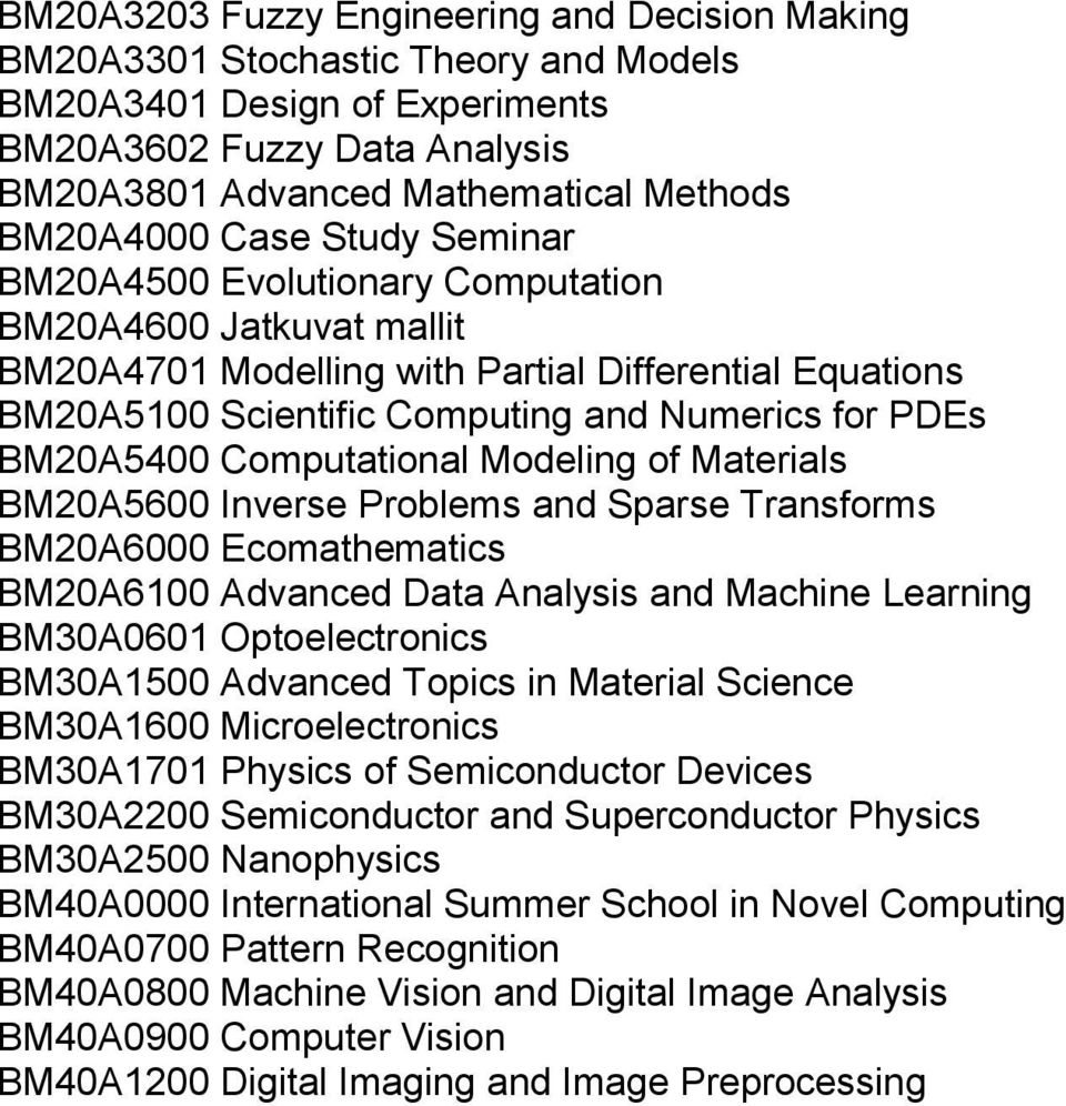 Computational Modeling of Materials BM20A5600 Inverse Problems and Sparse Transforms BM20A6000 Ecomathematics BM20A6100 Advanced Data Analysis and Machine Learning BM30A0601 Optoelectronics BM30A1500