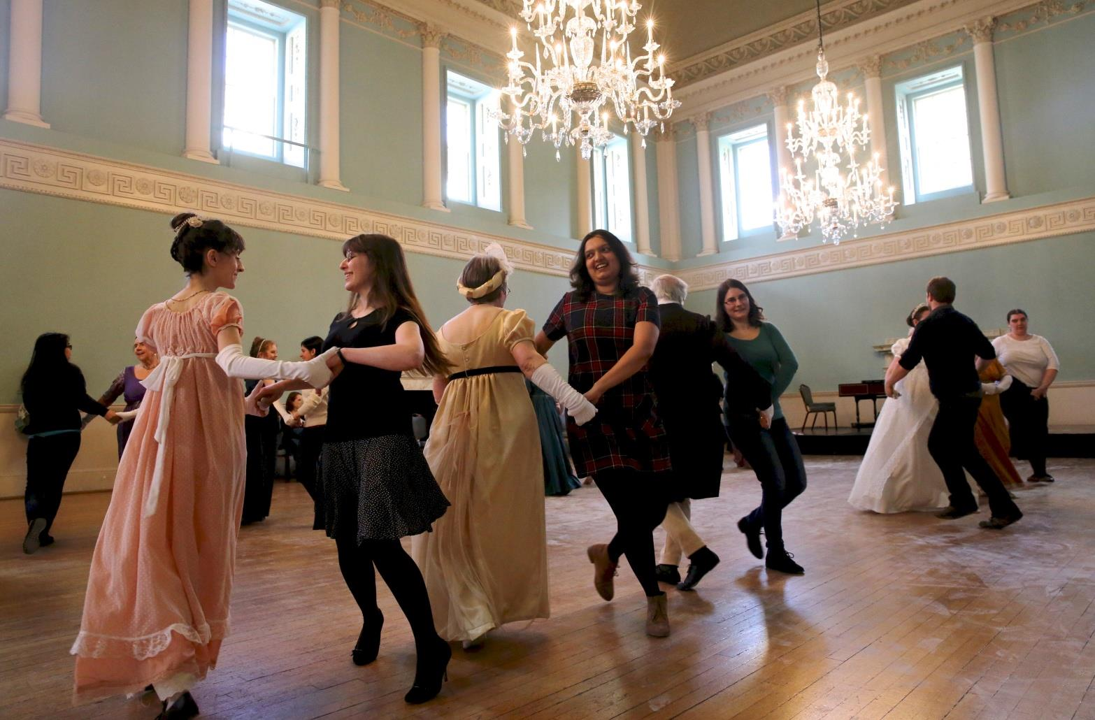 opportunity to learn Georgian dances, listen to 18th century music, gamble at the card tables, try on fancy costumes and make-up,