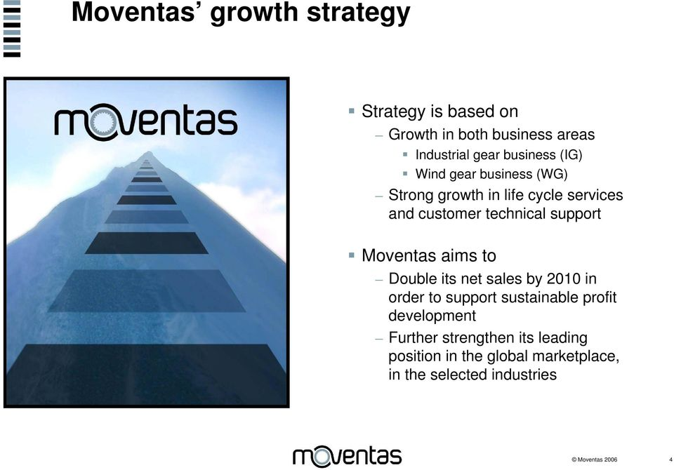 Moventas aims to Double its net sales by 2010 in order to support sustainable profit development