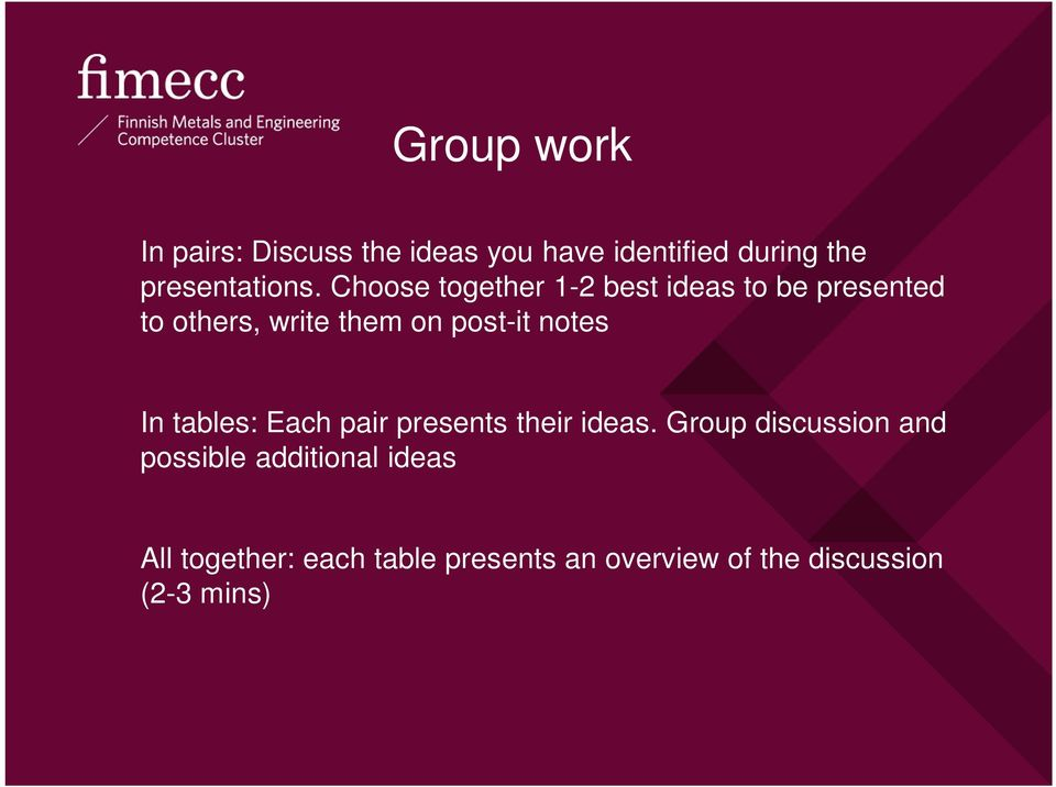 notes In tables: Each pair presents their ideas.
