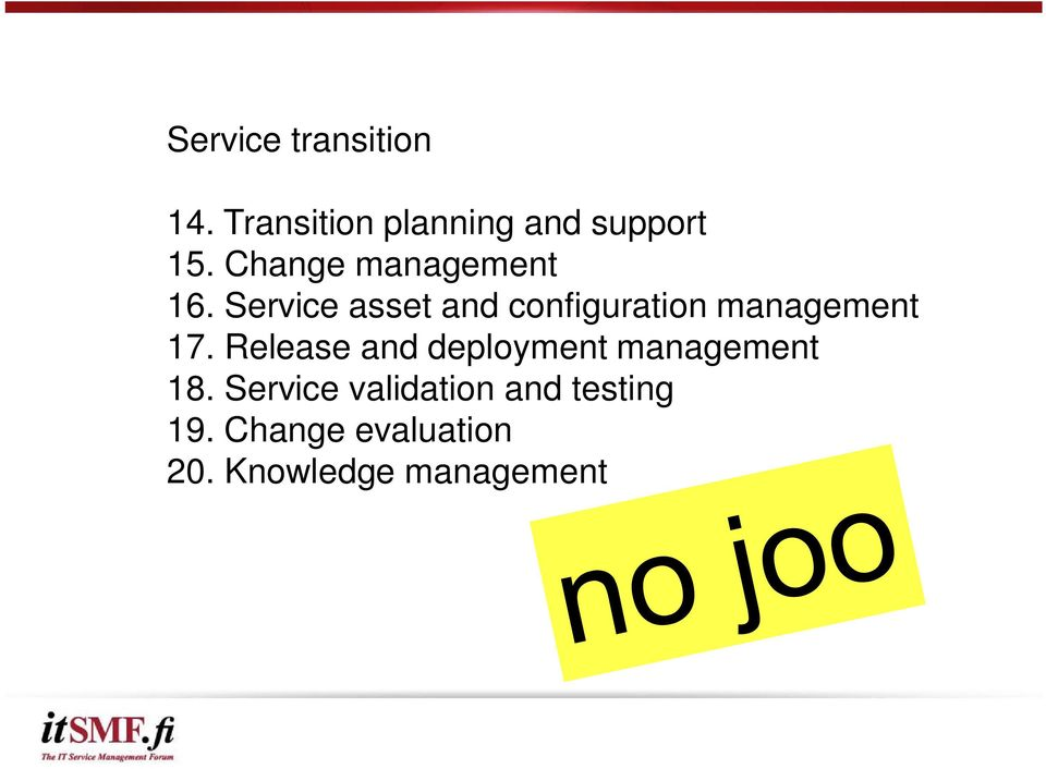 Service asset and configuration management 17.