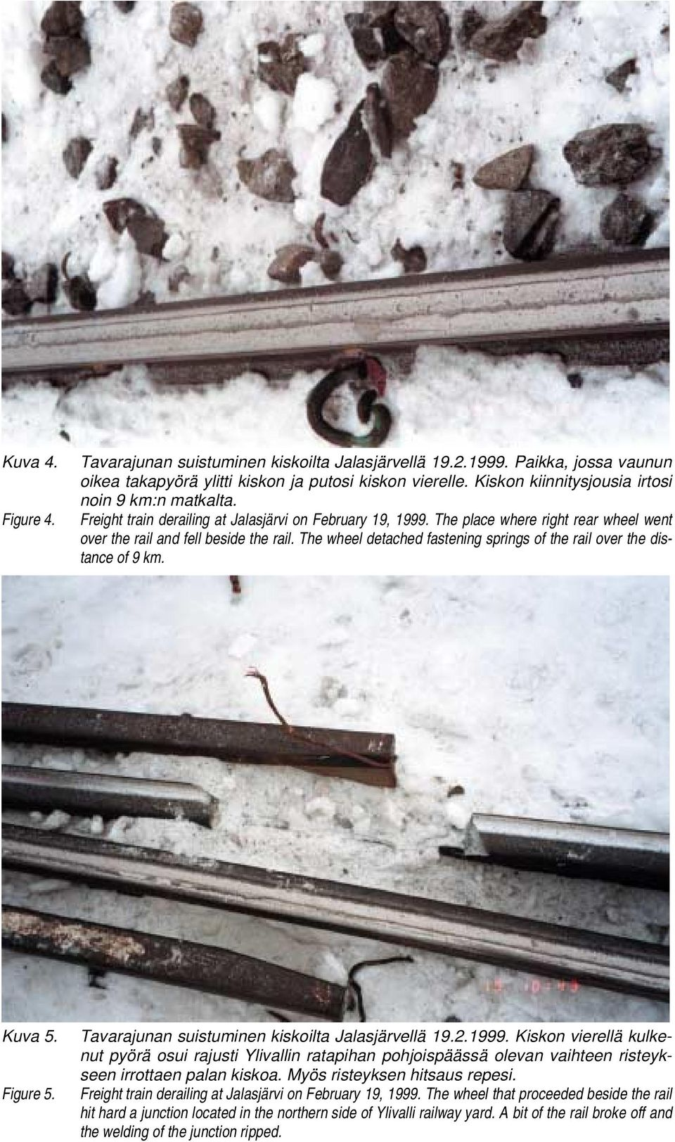 The wheel detached fastening springs of the rail over the distance of 9 km. Kuva 5. Figure 5.