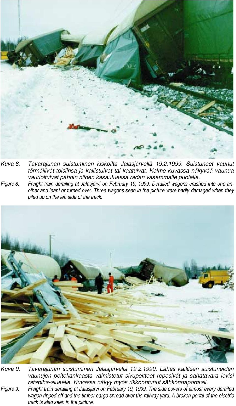 Three wagons seen in the picture were badly damaged when they piled up on the left side of the track. Kuva 9. Figure 9. Tavarajunan suistuminen Jalasjärvellä 19.2.1999.