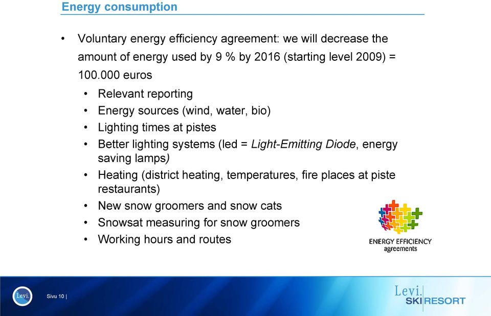 000 euros Relevant reporting Energy sources (wind, water, bio) Lighting i times at pistes Better lighting systems (led =
