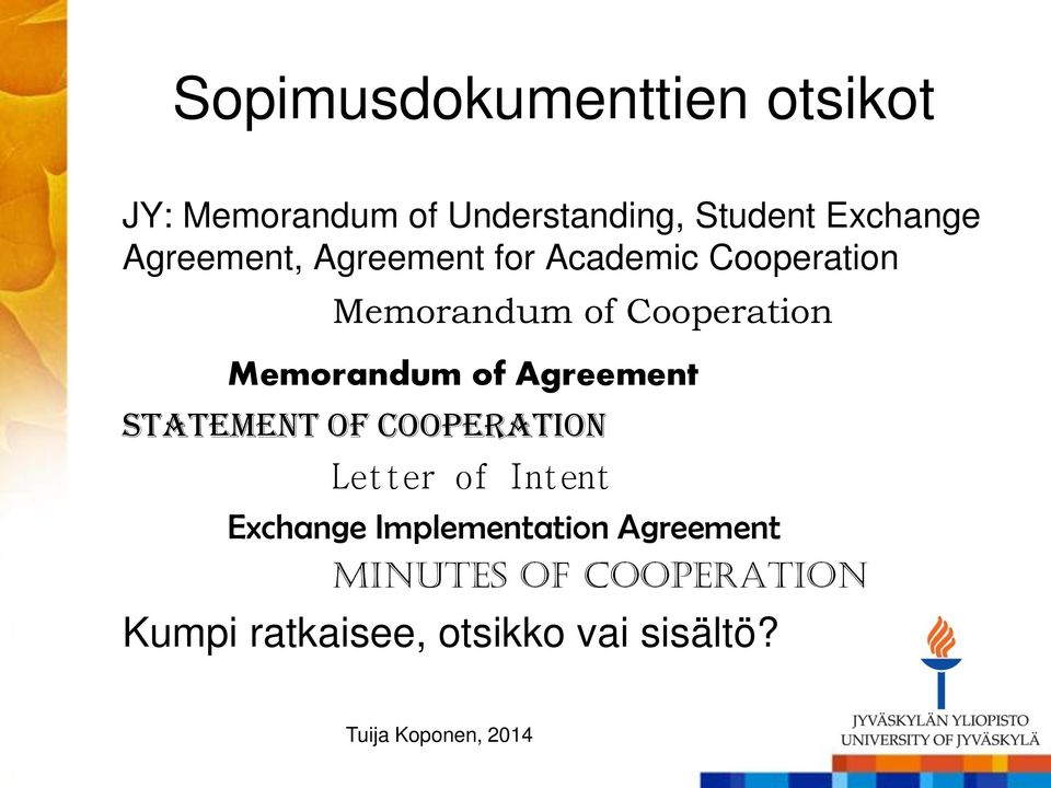 Memorandum of Agreement Statement of Cooperation Letter of Intent Exchange