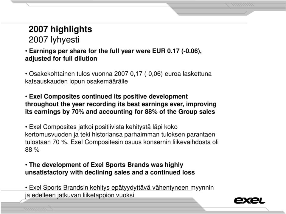 year recording its best earnings ever, improving its earnings by 70% and accounting for 88% of the Group sales Exel Composites jatkoi positiivista kehitystä läpi koko kertomusvuoden ja teki