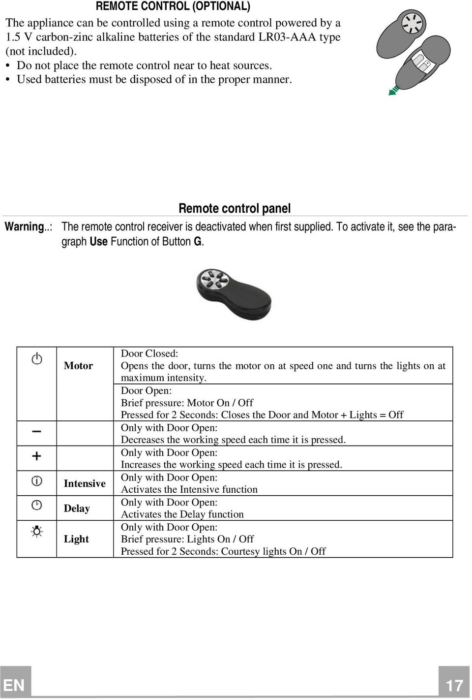 .: The remote control receiver is deactivated when first supplied. To activate it, see the paragraph Use Function of Button G.