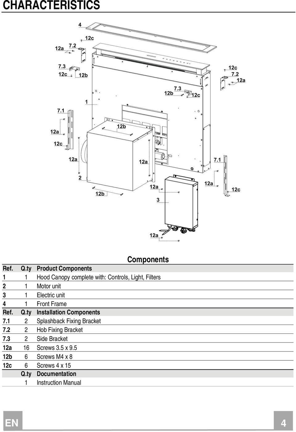 1 Electric unit 4 1 Front Frame Ref. Q.ty Installation Components 7.