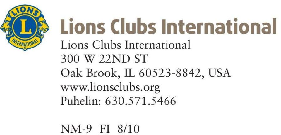 60523-8842, USA www.lionsclubs.