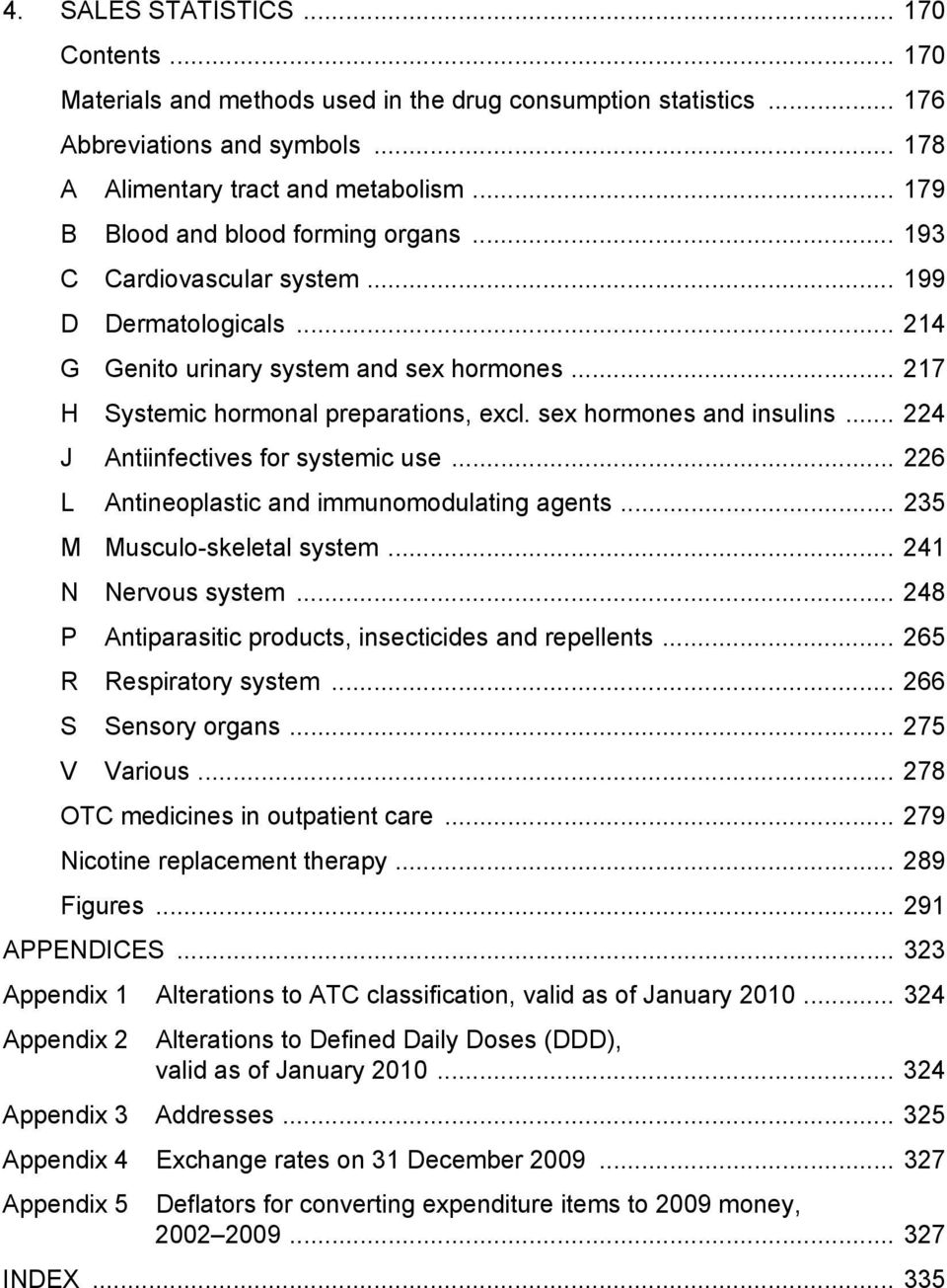 sex hormones and insulins... 224 J Antiinfectives for systemic use... 226 L Antineoplastic and immunomodulating agents... 235 M Musculo-skeletal system... 241 N Nervous system.