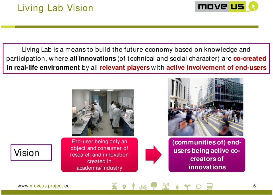 players with active involvement of end-users Vision End-user being only an object and consumer of research and