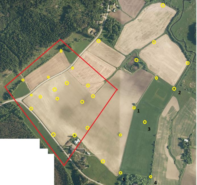 Open agricultural test site in Hovi Vihti 2016 Insitu measurements Targeted ground control points for geometric testing Vegetation height, biomass and N content (parcels 1, 4) Yield maps for parcels
