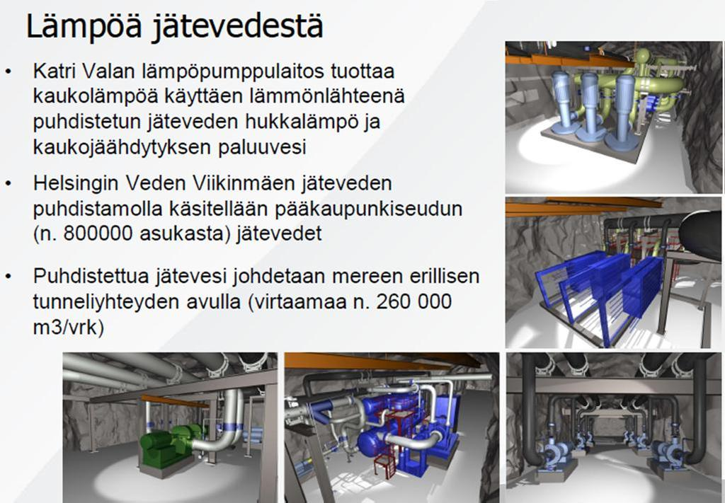 Heat from sewage water Katri Vala heating and cooling plant produces district heating from cleaned