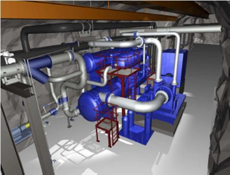 Power consumption: 6 500 kw/10 kv - Cold material: R134a Piping (2 km): - Heat