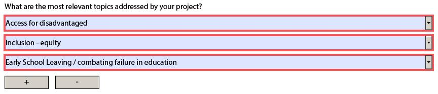 E. Description of the Project (4/5) What are the most relevant topics addressed by your project?