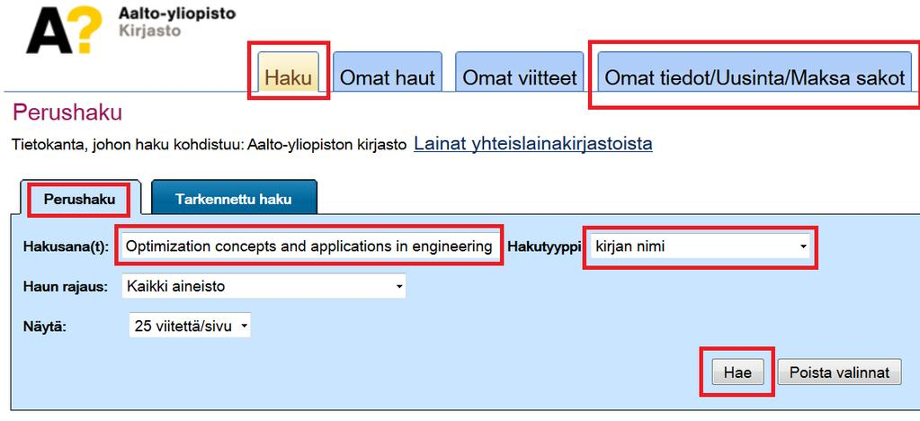 Alli kokoelmatietokanta: etsitään kurssikirja Optimization concepts and applications in engineering Otaniemen kampuskirjaston (ns.