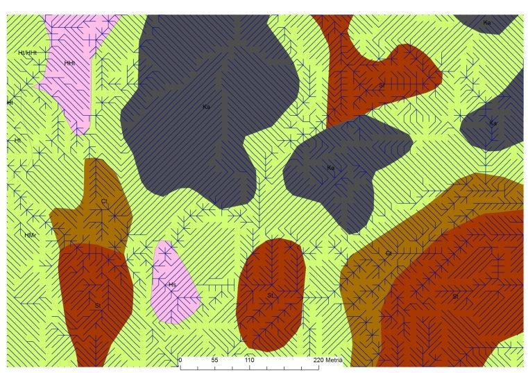 Flow-channel and wet area Flow-channels together with map mapping Wet