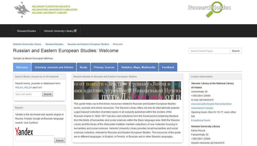 Russian and Eastern European Studies ResearchGuide http://libraryguides.helsinki.
