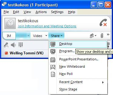 VYVI MEETING Lync Attendee 2010 Instruction 11 (15) Clicking Share button opens tab where sharing options can be found.