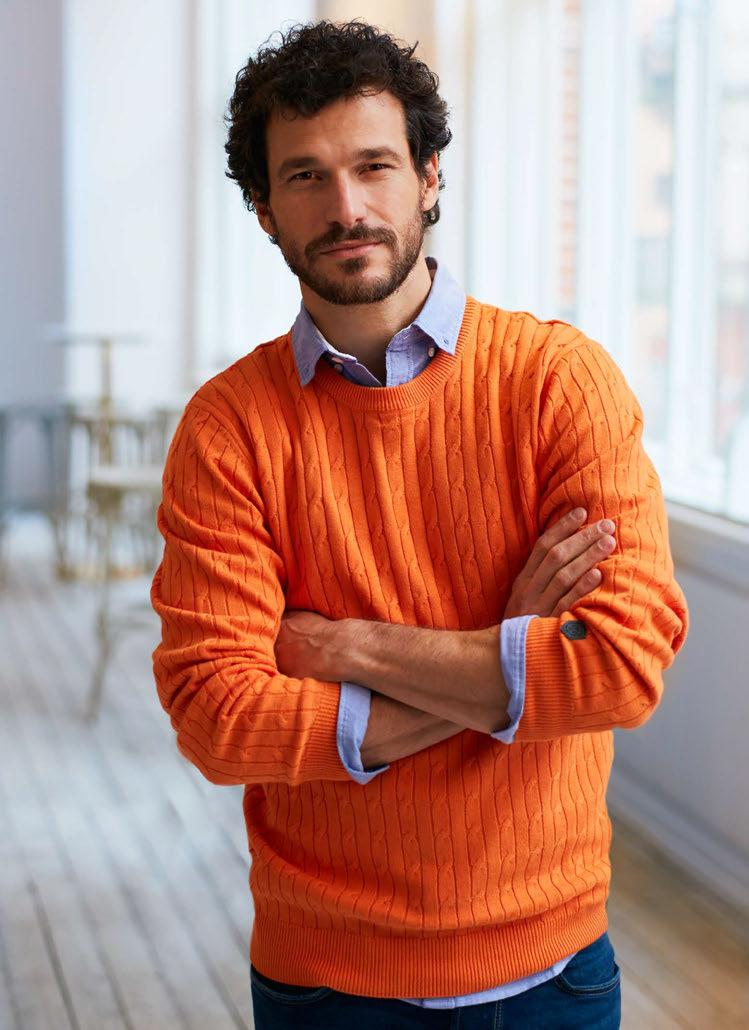 Blakely Knitted Sweater, oranssi Belfair Oxford