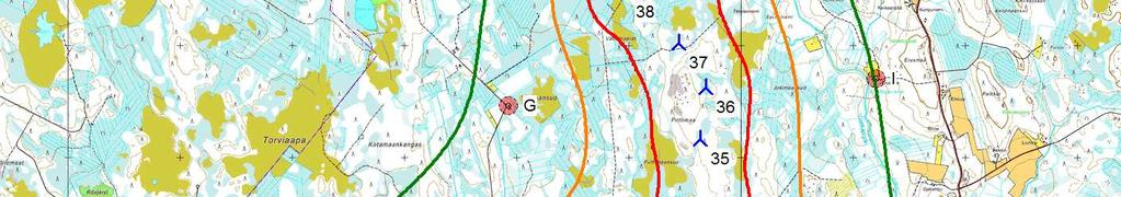 Liite 1 VE3 DECIBEL - Map 8, m/s Calculation: VE3 36 x V126 x HH137 (GF=,4 z=4 T=15C) 15,9 db WindPRO