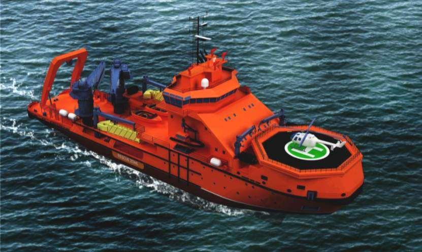 Multifunctional salvage and rescue vessel with power 7 MW, corresponds to Russian