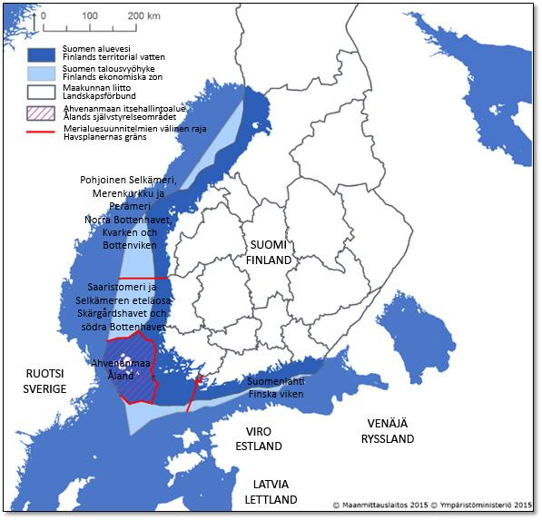 3 MARITIME SPATIAL PLANS, 8 REGIONAL COUNSILS Åland Islands will prepare MSP on its own behalf Typically in EU: National authority prepares the MSPs In Finland: Ministry of the Environment is the
