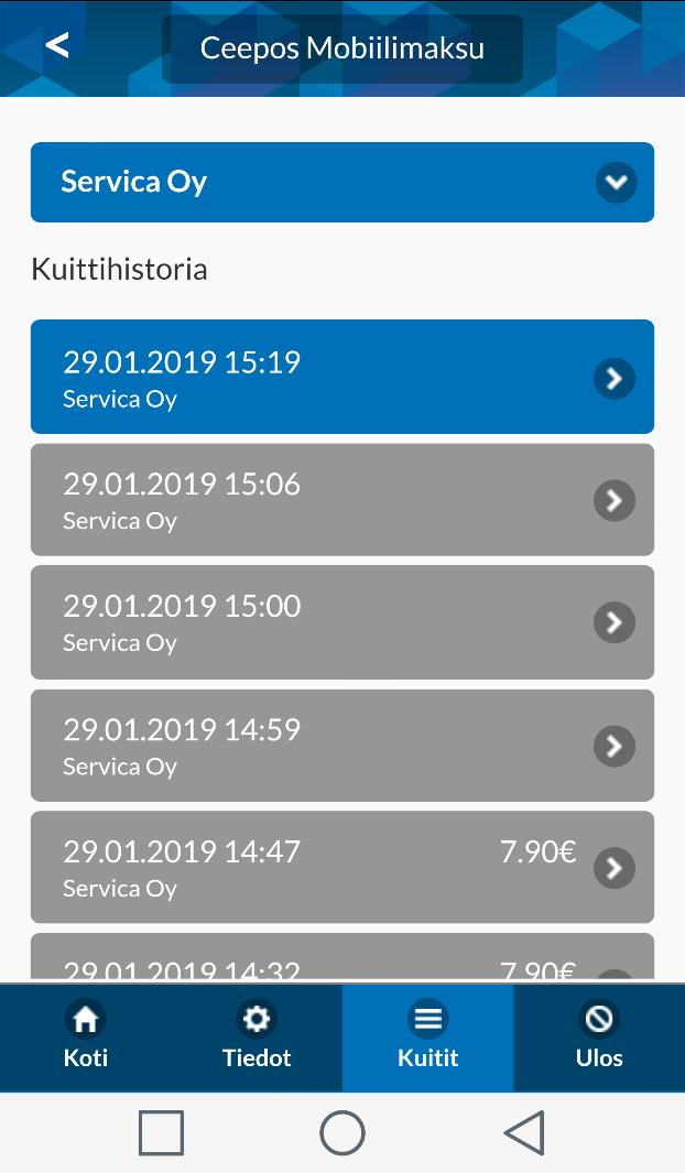 Servica Oy Ceepos mobiilimaksaminen 14 (14) 4.