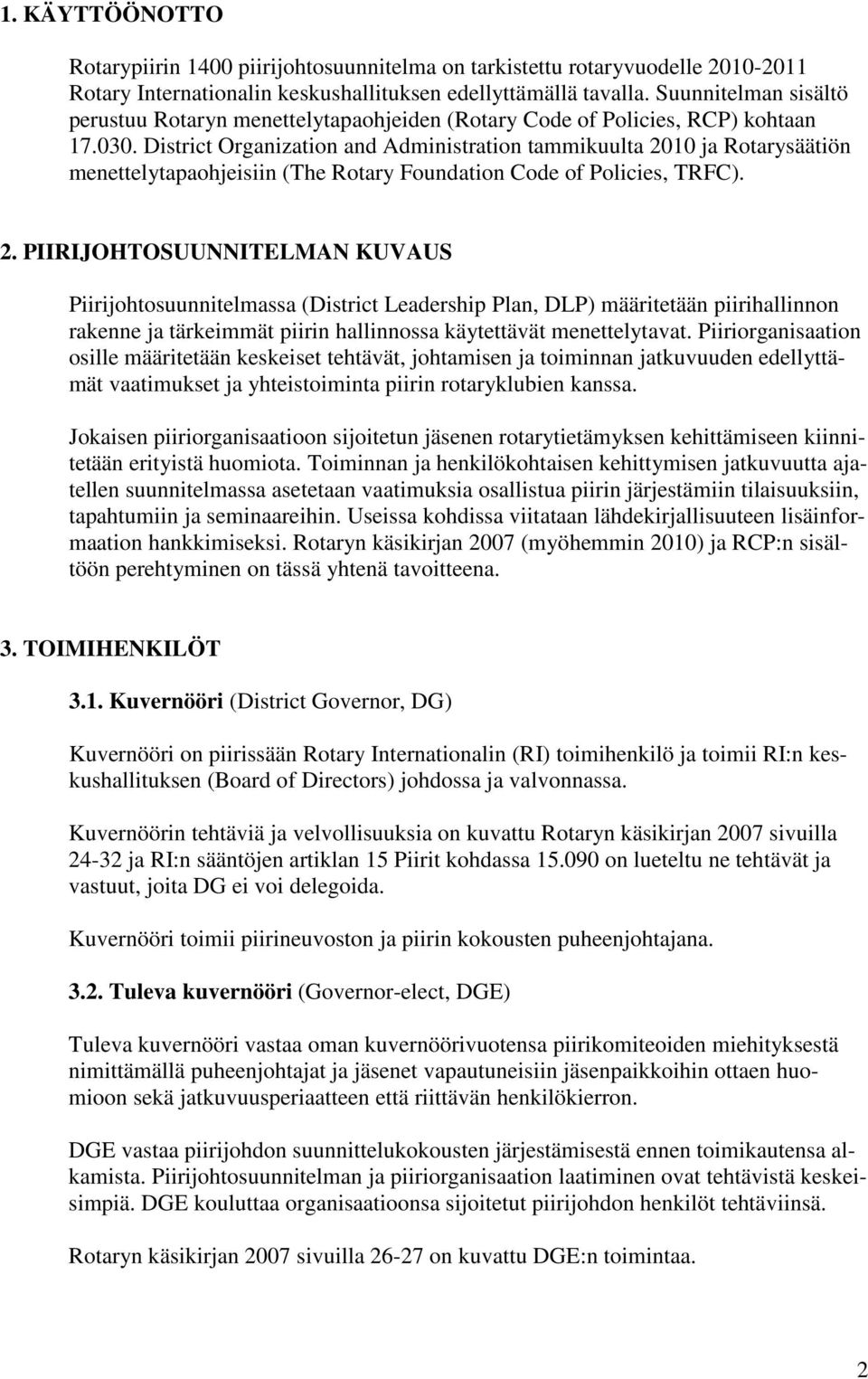 District Organization and Administration tammikuulta 20