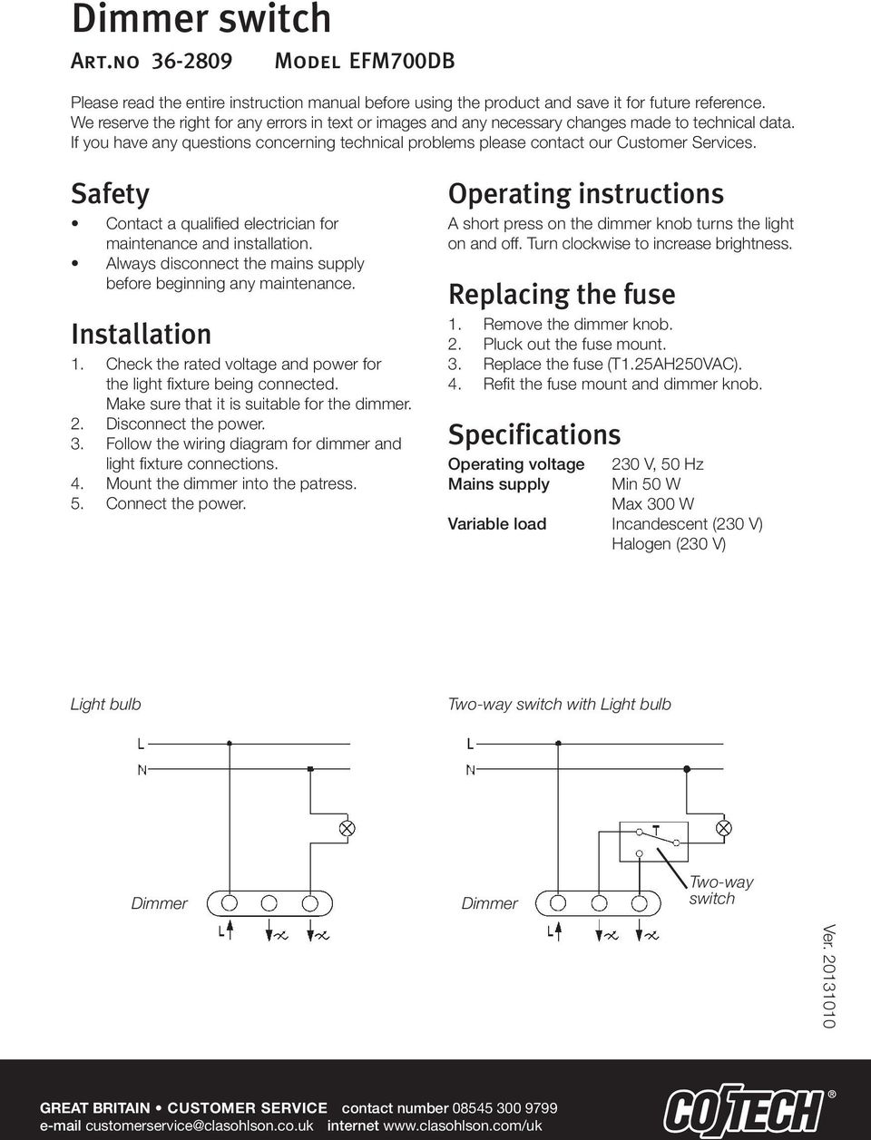 Dimmer Switch Operating Instructions A Short Press On The Diagram Safety Contact Qualified Electrician For Maintenance And Installation Always Disconnect Mains Supply Before