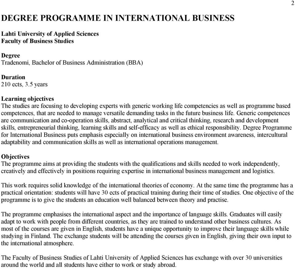 Business Administration Degree >> Study Guide Lahti University Of Applied Sciences Faculty Of