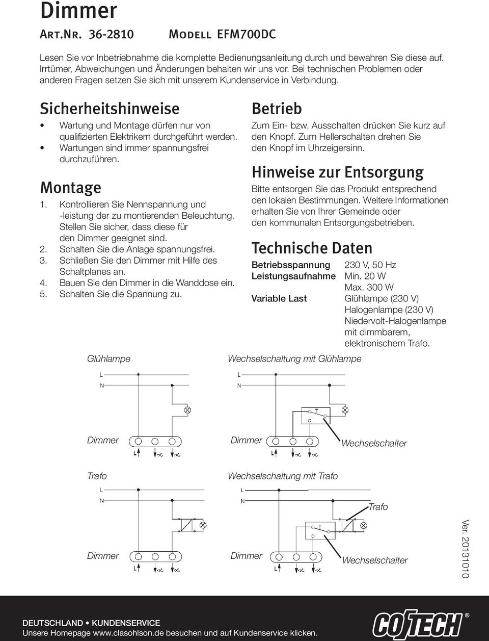 Dimmer Switch Operating Instructions A Short Press On The Dimmer