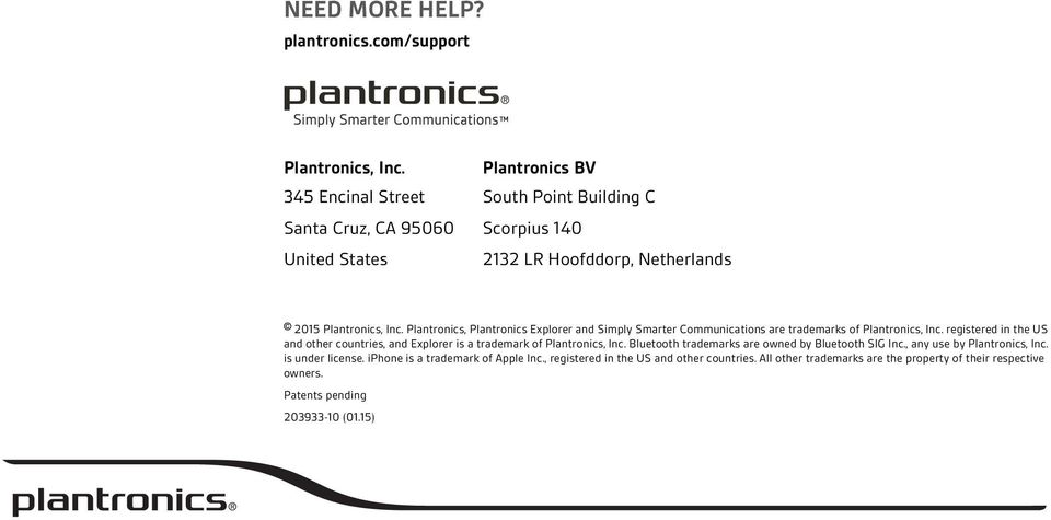 Plantronics, Plantronics Explorer and Simply Smarter Communications are trademarks of Plantronics, Inc.